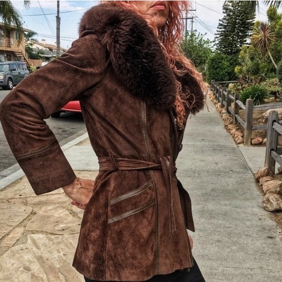 Jackets & Blazers - brown suede penny lane coat mongolian fur